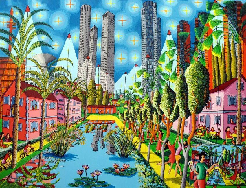 naive painting raphael perez art landscape artwork by