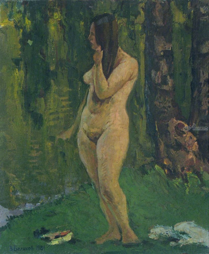 Naked woman near the river, Paintings, Impressionism, Figurative, Nudes, Canvas, By Vasily Belikov