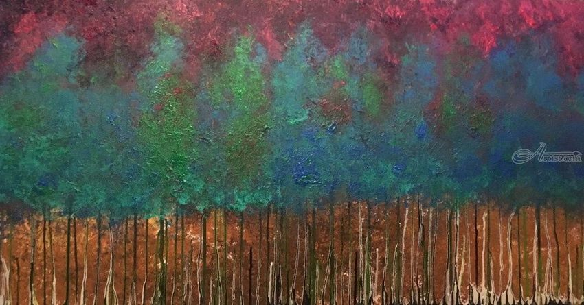 Natural Flavors, Paintings, Abstract, Botanical, Landscape, Acrylic, Canvas, Painting, By Kenneth E Parker