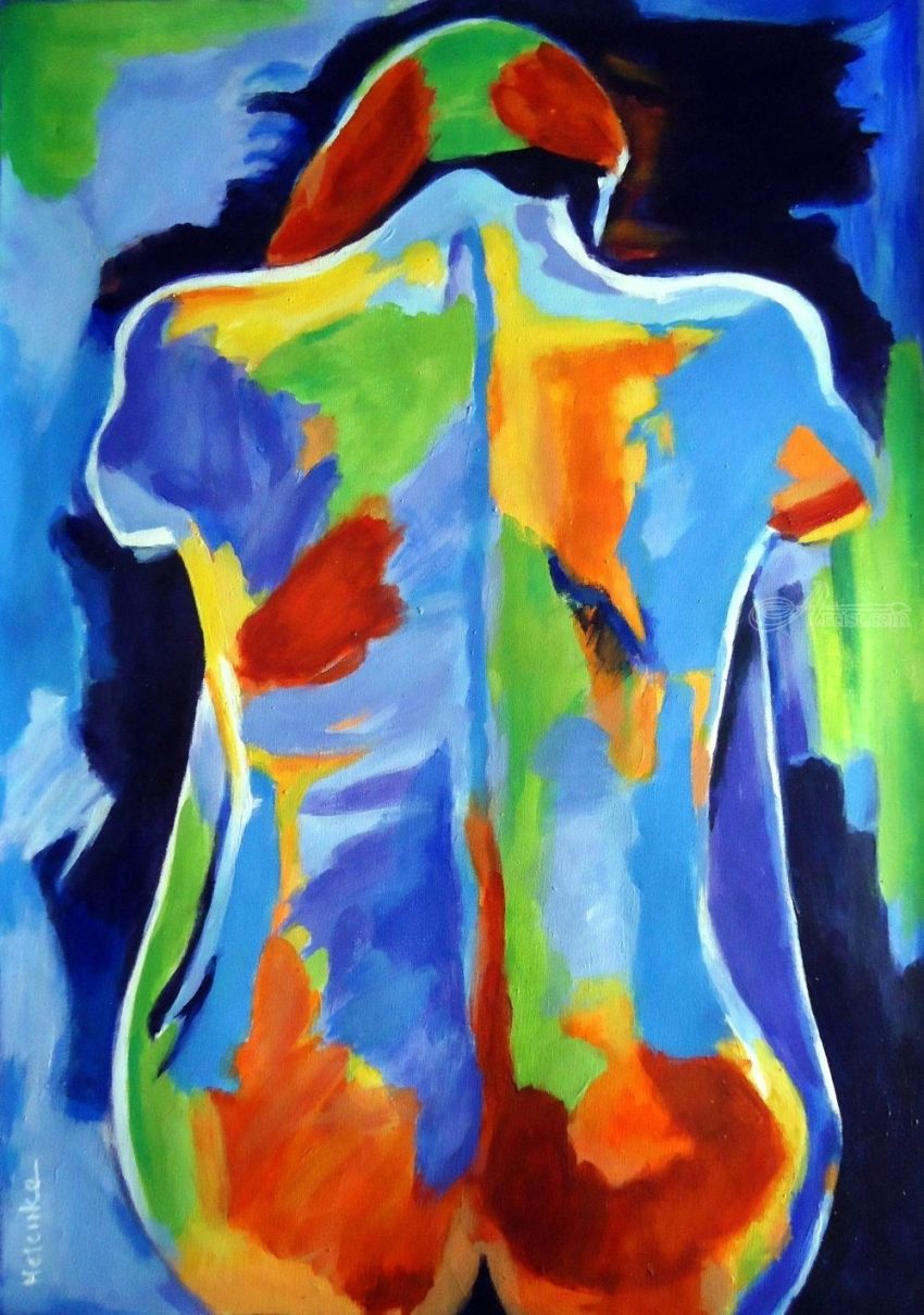 Ne me quitte pas, Paintings, Abstract, Expressionism, Fauvism, Fine Art, Avant-Garde, Decorative, Erotic, Figurative, Nudes, People, Portrait, Acrylic, Canvas, By Helena Wierzbicki