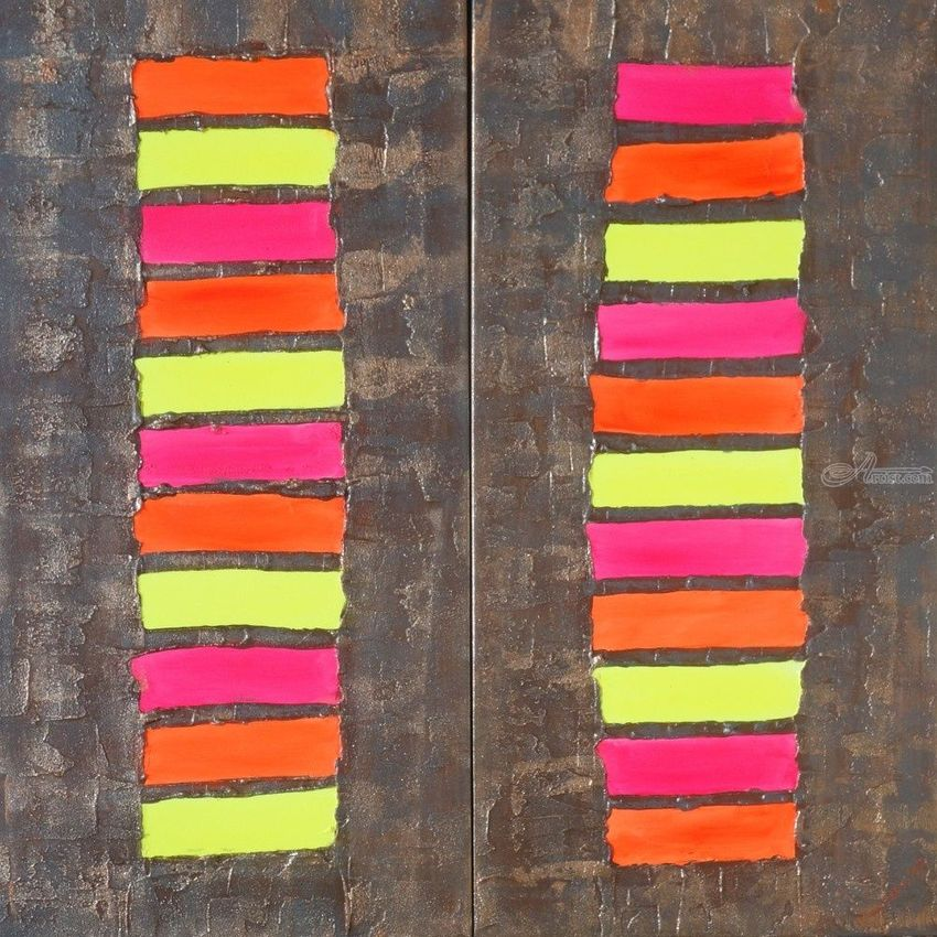 Neon Abstract Diptych A130 Abstract Painting Vertical Wall Art