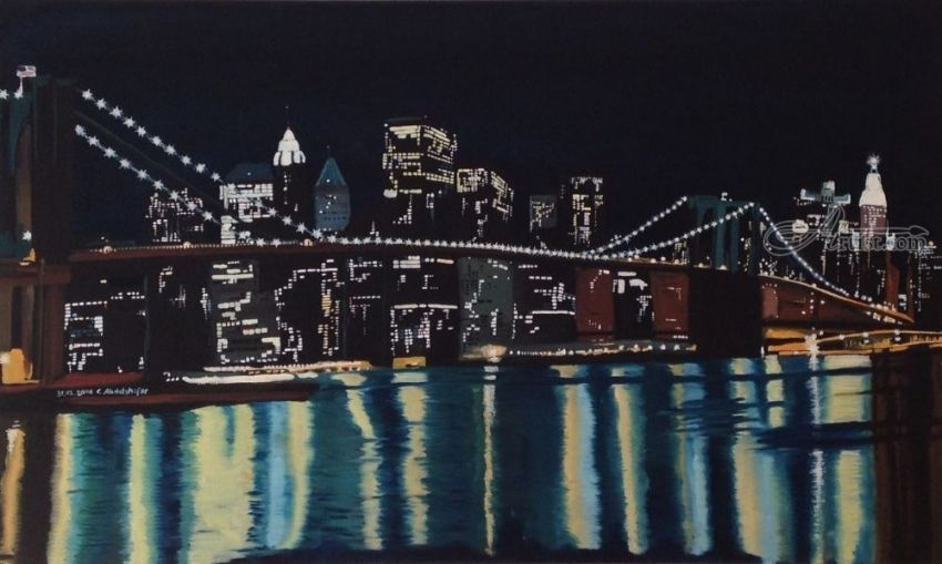 New York's Brooklin Bridge by night, Paintings, Fine Art, Architecture, Canvas,Oil,Painting, By Claudia Luethi alias Abdelghafar