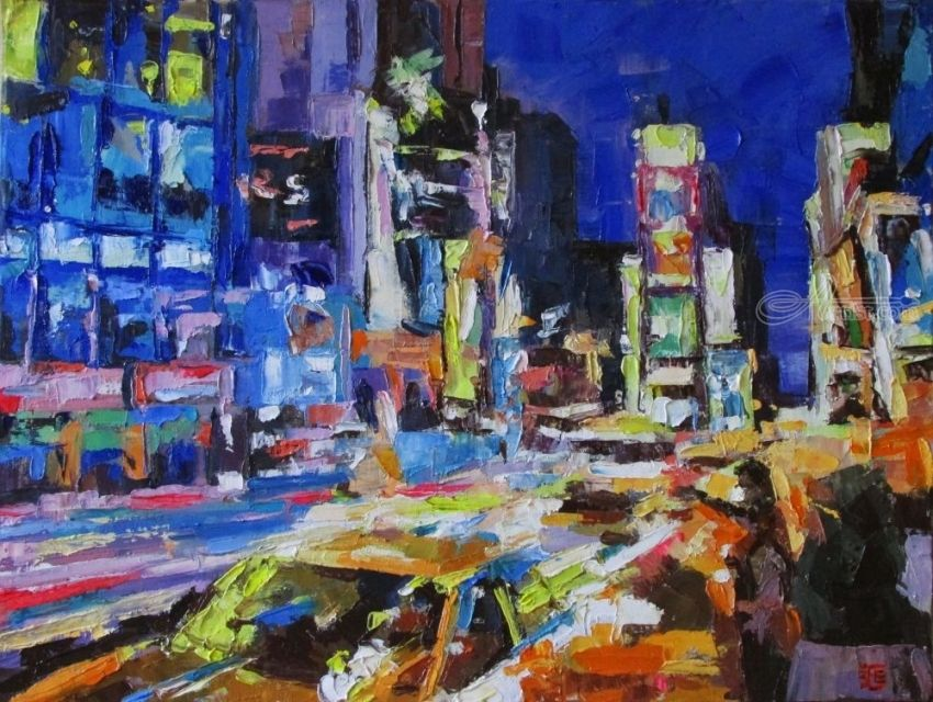 New York. Times Square, Paintings, Expressionism,Fine Art,Impressionism,Realism, Architecture,Cityscape,Daily Life,Landscape, Canvas,Oil, By Kateryna Bortsova