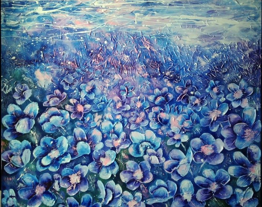 Blue Flowers Abstract Painting