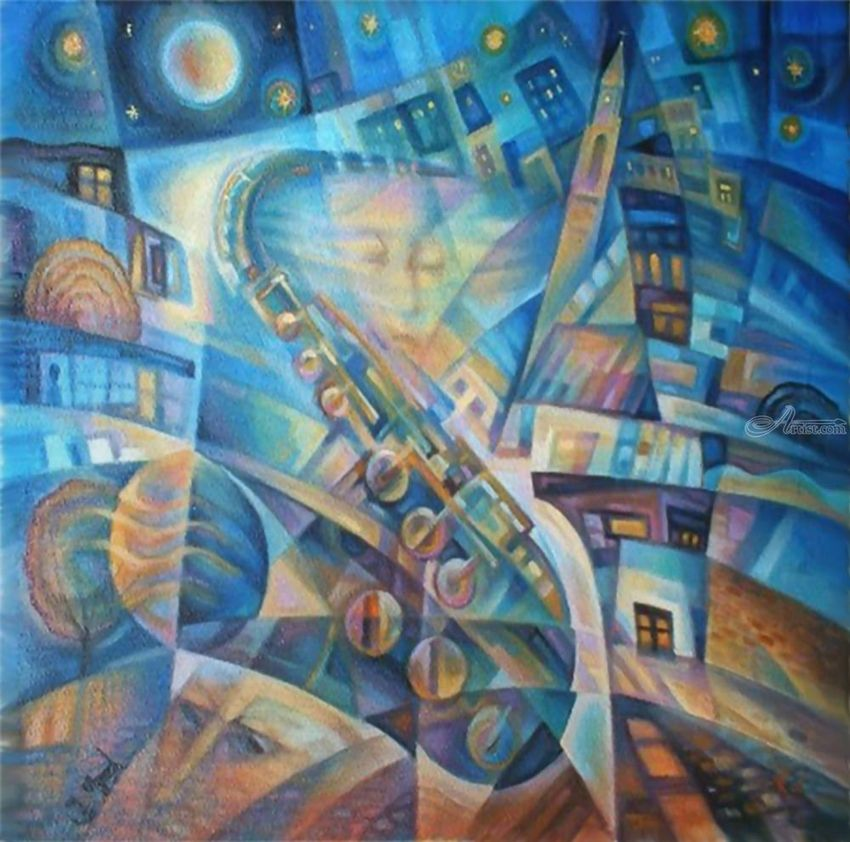 Night Blues, Decorative Arts, Modernism, Composition, Oil, By Ihor Khoynyak