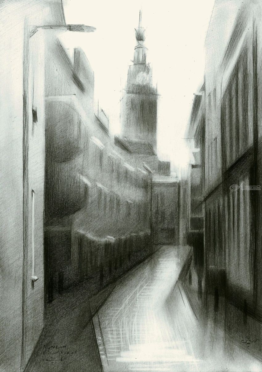 Nijmegen - Priemstraat - 30-01-16, Drawings / Sketch, Abstract,Cubism,Fine Art,Impressionism,Realism,Surrealism, Architecture,Cityscape,Composition,Inspirational, Pencil, By Corne Akkers