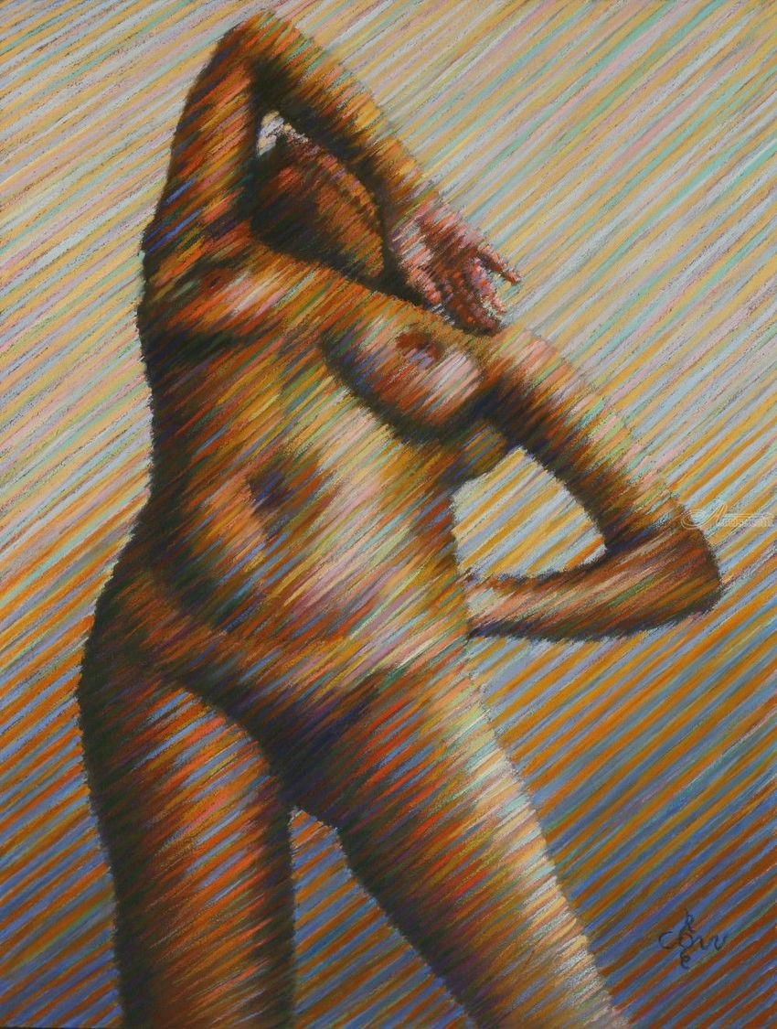 Nude – 02-02-19, Drawings / Sketch, Fine Art, Impressionism, Realism, Anatomy, Composition, Erotic, Figurative, Nudes, People, Pastel, By Corne Akkers