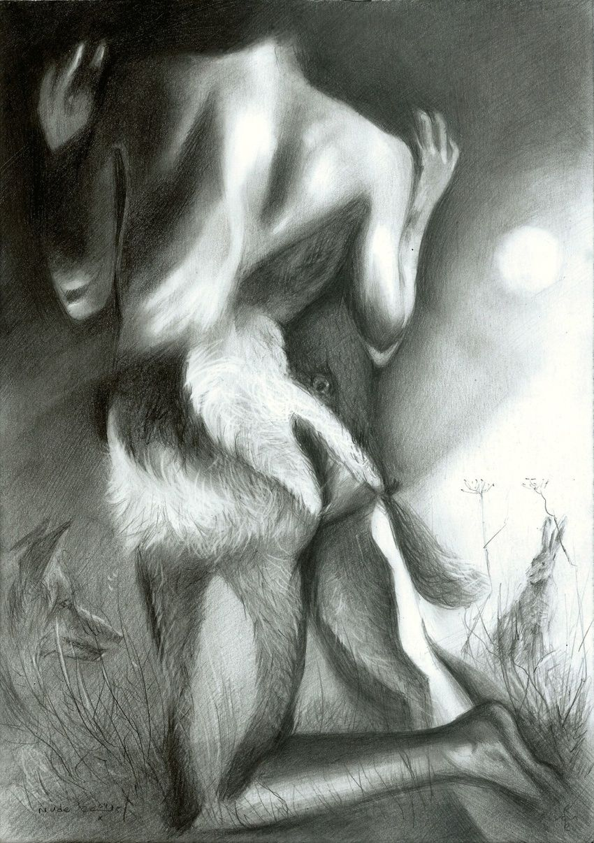 Nude - 04-10-15, Drawings / Sketch, Abstract,Fine Art,Impressionism,Realism,Surrealism, Anatomy,Animals,Composition,Erotic,Figurative,Inspirational,Nudes,People, Pencil, By Corne Akkers