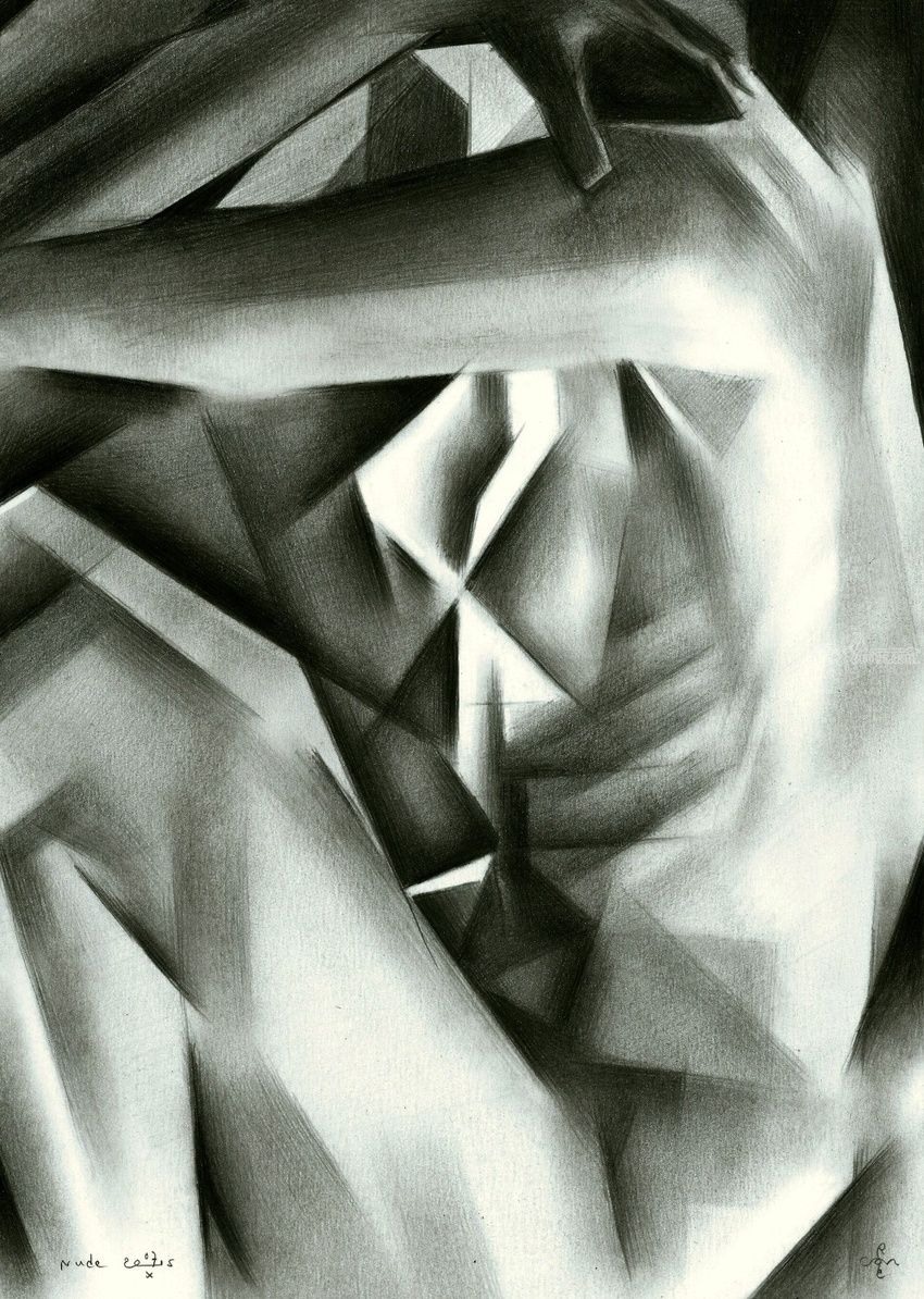 Nude - 07-10-15, Drawings / Sketch, Abstract, Cubism, Fine Art, Impressionism, Realism, Surrealism, Anatomy, Composition, Erotic, Figurative, Inspirational, Nudes, People, Pencil, By Corne Akkers