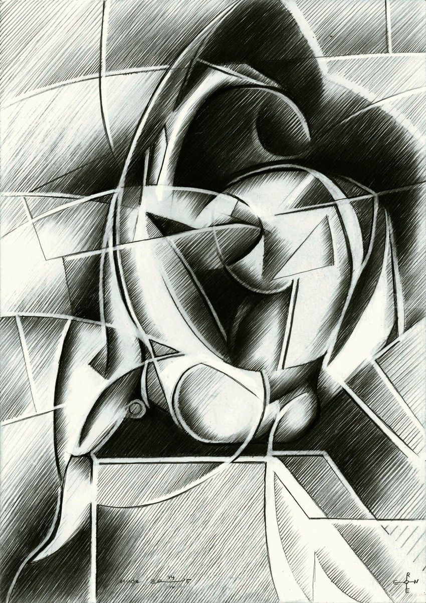 Nude - 14-04-15, Drawings / Sketch, Abstract, Cubism, Fine Art, Impressionism, Realism, Surrealism, Anatomy, Composition, Erotic, Figurative, Inspirational, Nudes, People, Pencil, By Corne Akkers