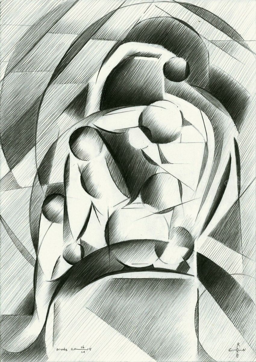 Nude - 16-04-15, Drawings / Sketch, Abstract, Cubism, Fine Art, Impressionism, Realism, Surrealism, Anatomy, Composition, Erotic, Figurative, Inspirational, Nudes, Pencil, By Corne Akkers