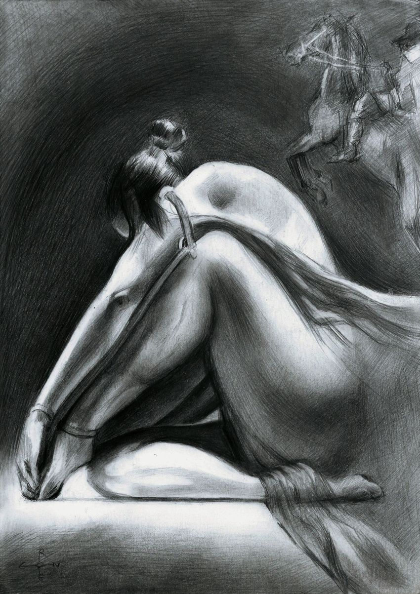 Nude - 17-06-15, Drawings / Sketch, Fine Art,Impressionism,Realism,Surrealism, Anatomy,Animals,Composition,Erotic,Fantasy,Figurative,Inspirational,Nudes,People, Pencil, By Corne Akkers