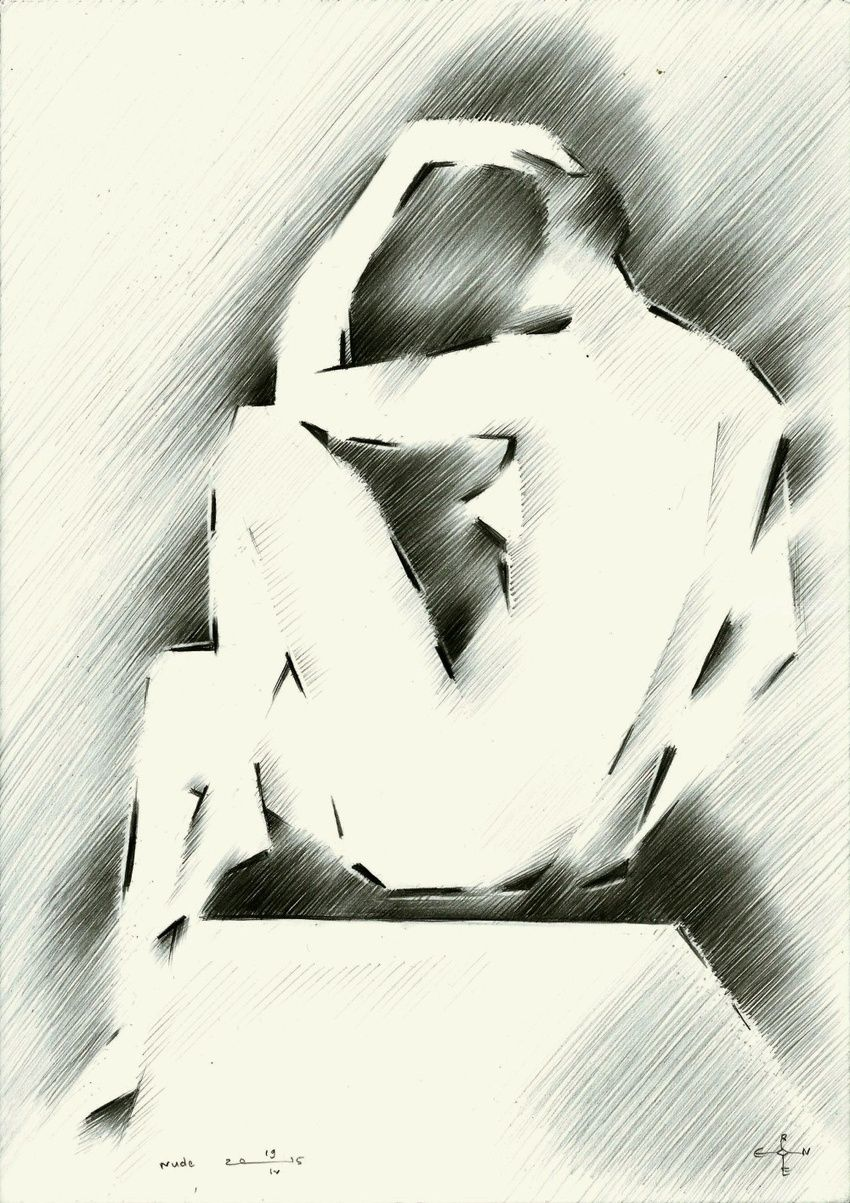 Nude 19-04-15, Drawings / Sketch, Abstract, Cubism, Fine Art, Impressionism, Minimalism, Realism, Anatomy, Composition, Erotic, Figurative, Inspirational, Nudes, Pencil, By Corne Akkers