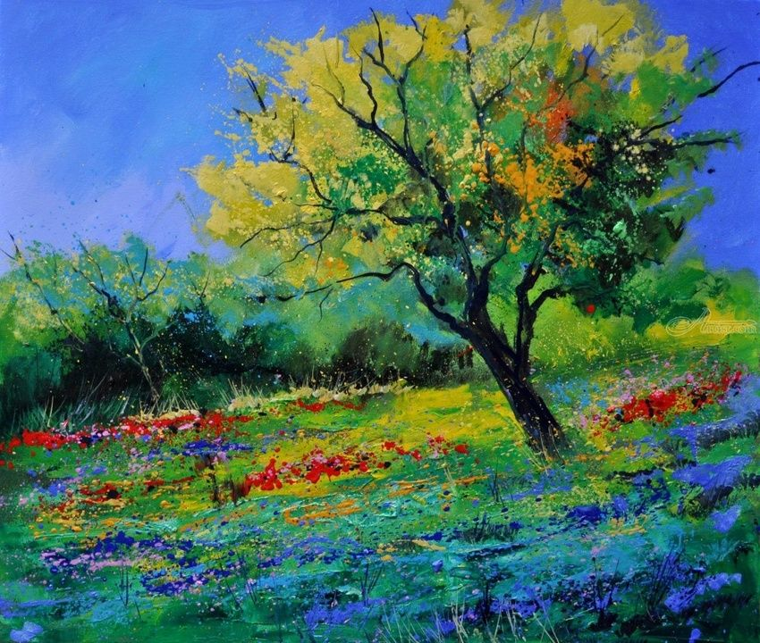 Oak 6741, Paintings, Fauvism, Floral,Landscape, Canvas, By Pol Henry Ledent