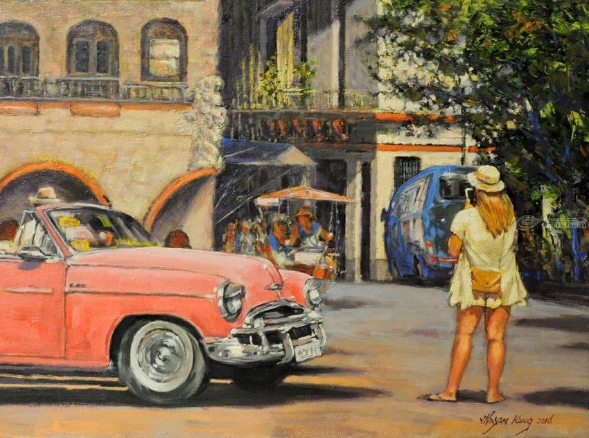 Obispo Plaza in Havana, Paintings, Impressionism, Landscape, Canvas, Oil, By Mason Mansung Kang
