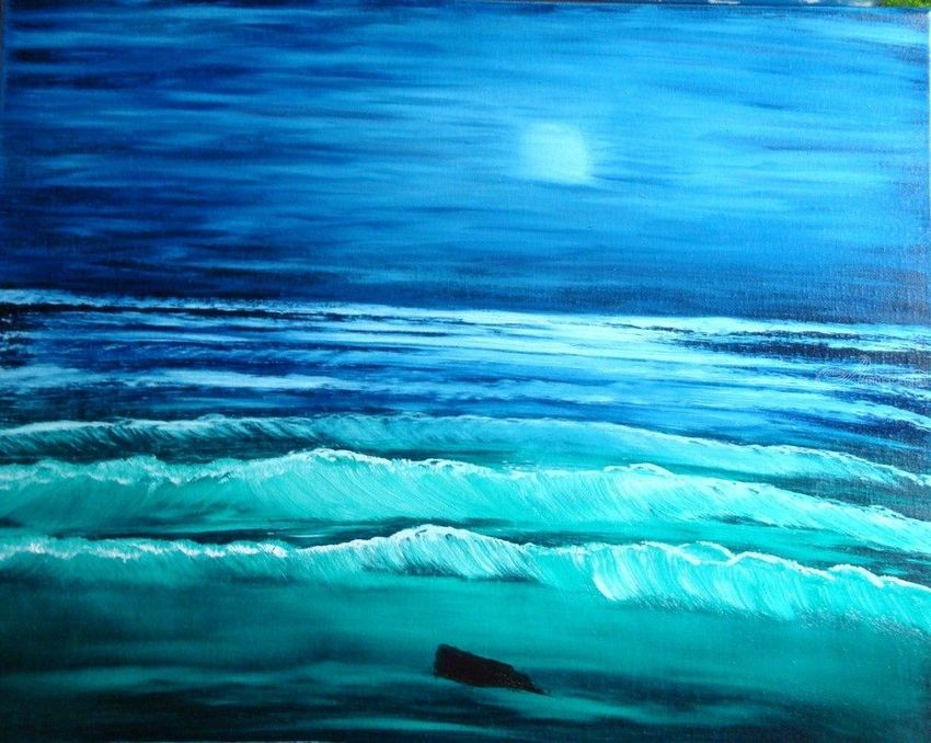 Ocean at Night, Land Art, Paintings, Fine Art, Landscape, Canvas, Oil, Painting, By Lana karin Fultz