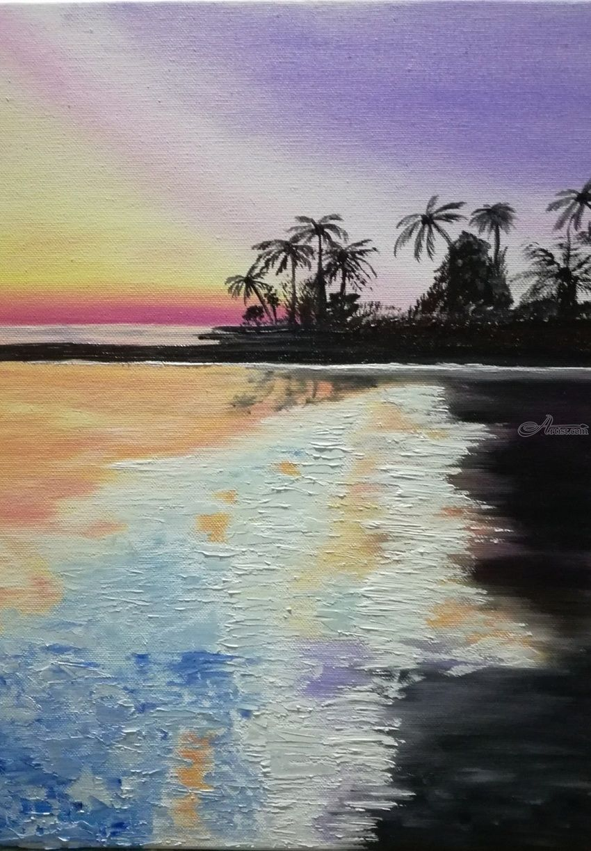 OIL PAINTING SUNSET ON THE BEACH, Paintings, Expressionism, Impressionism, Daily Life, Inspirational, Landscape, Canvas, Oil, By Nataliia Plakhotnyk