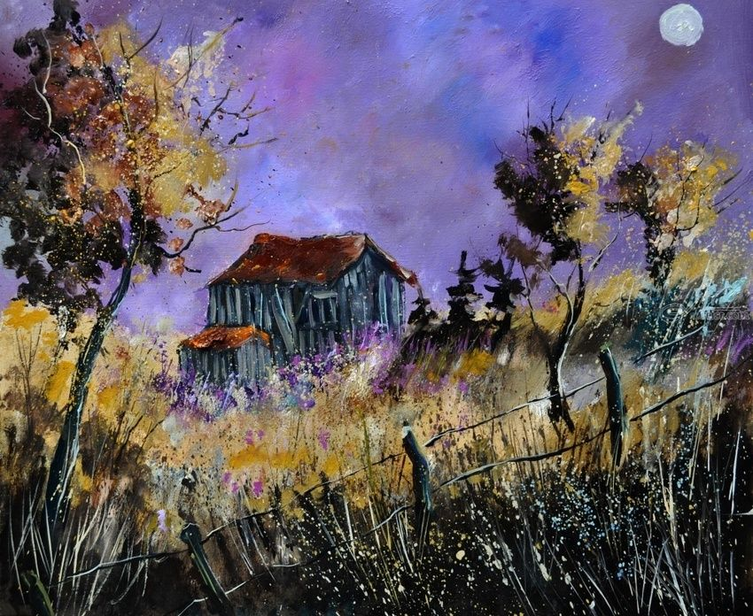 Old barn, Paintings, Impressionism, Landscape, Canvas, By Pol Henry Ledent