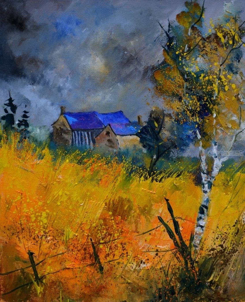 Old house 5561, Paintings, Impressionism, Botanical, Canvas, By Pol Henry Ledent