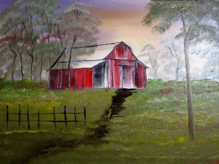 Old Red Rustic Barn, Paintings, Fine Art, Landscape, Canvas,Oil,Painting, By Lana karin Fultz