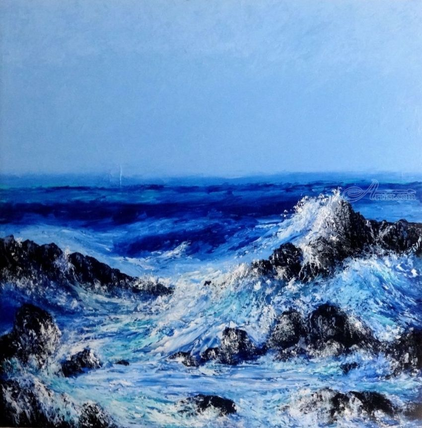 Keanae Point, Paintings, Realism, Seascape,Tropical, Oil, By fred wilson