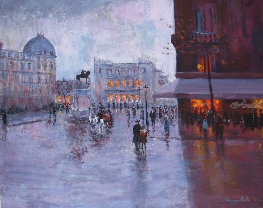 On Square 1930, Paintings, Impressionism, Cityscape, Canvas, Oil, By slobodan dusan paunovic