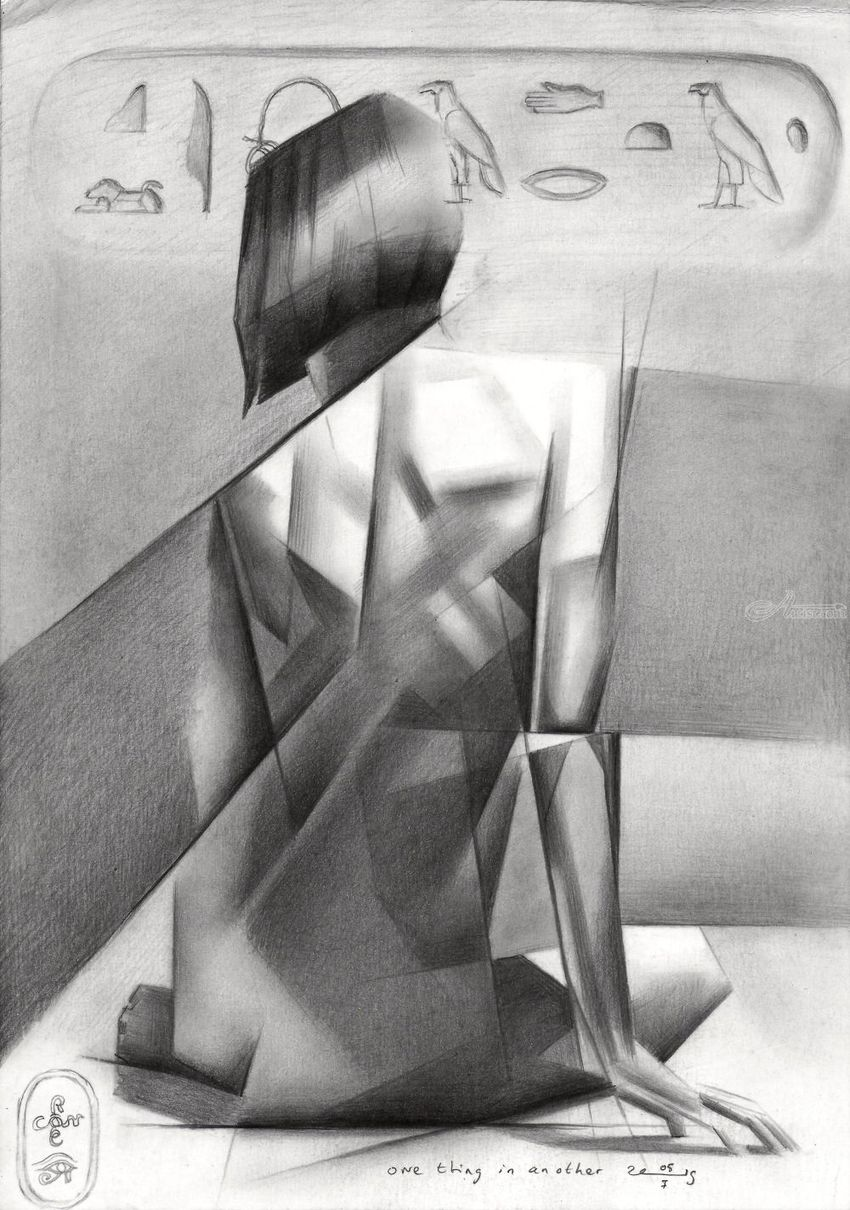 One thing in another – 05-01-19, Drawings / Sketch, Abstract, Cubism, Fine Art, Realism, Surrealism, Anatomy, Erotic, Figurative, Historical, Inspirational, Nudes, People, Pencil, By Corne Akkers