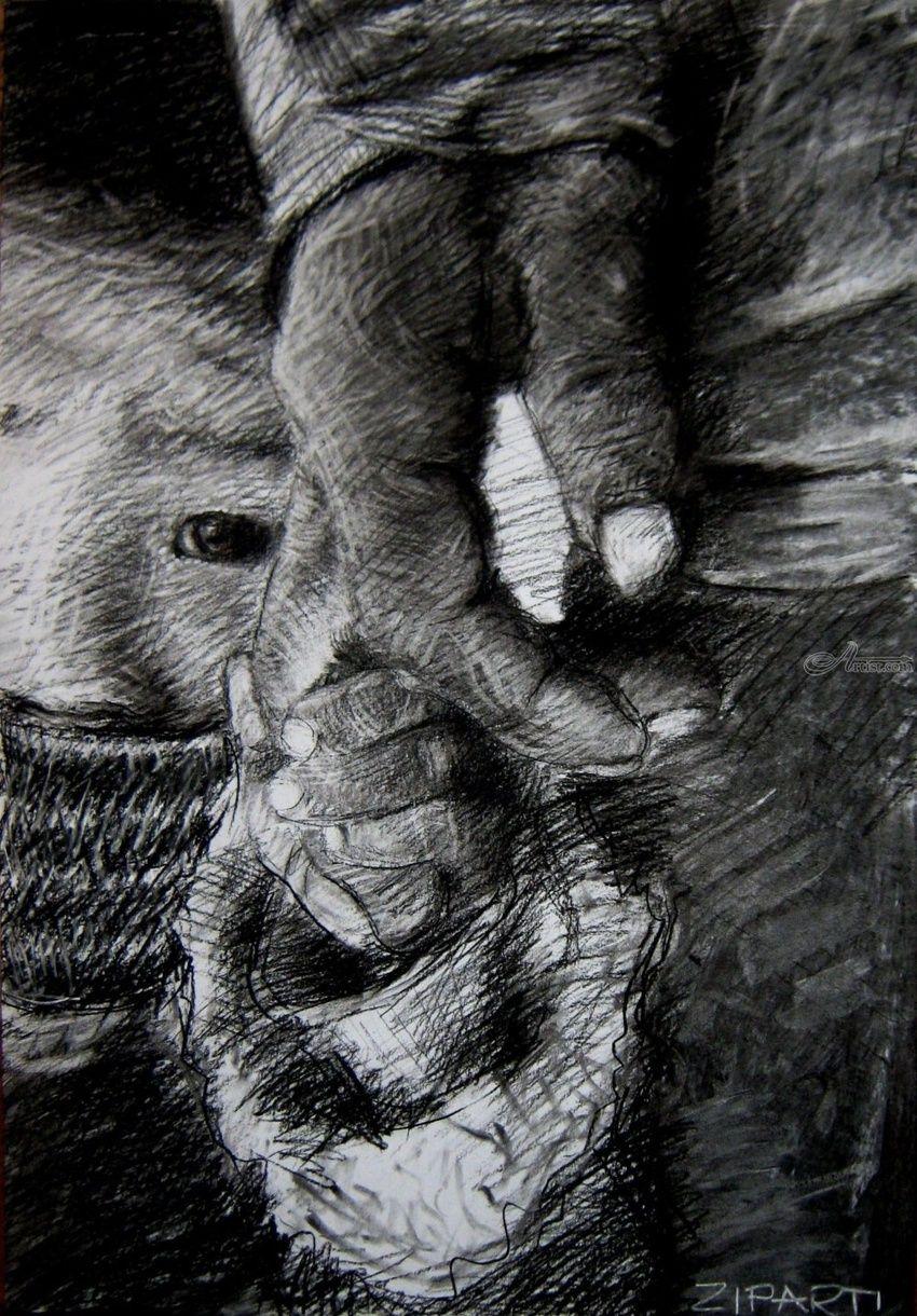 Original charcoal drawing fear drawings sketch illustration