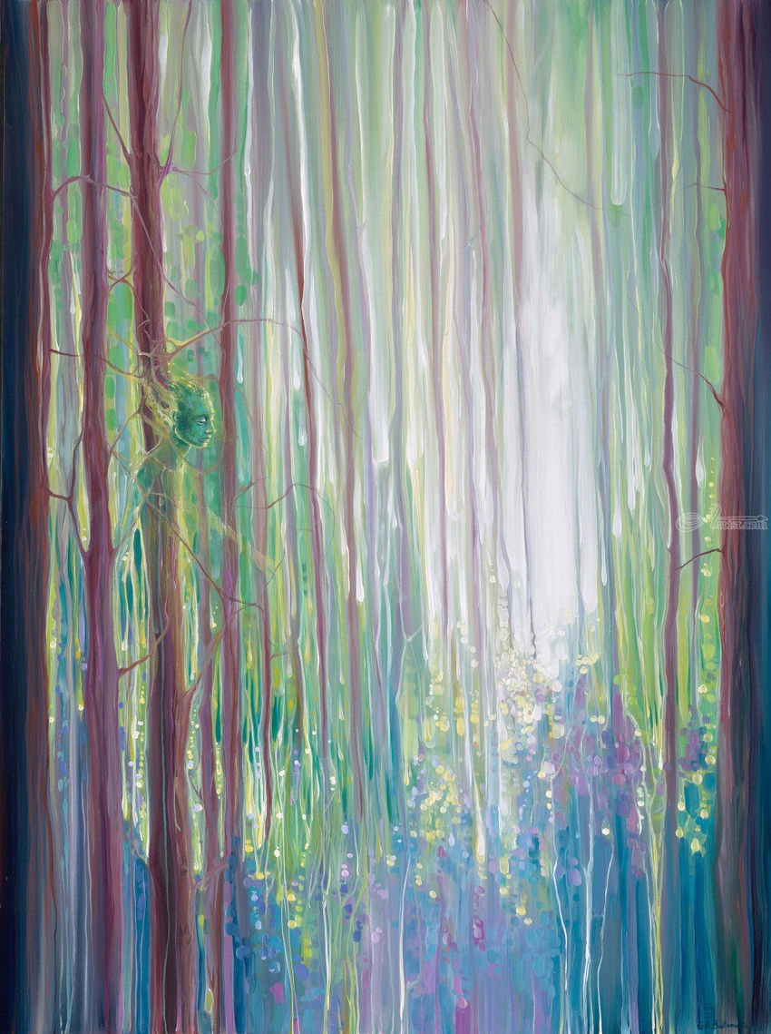 ORIGINAL Oil Painting - The Dryads Bluebell Wood, Paintings, Impressionism, Landscape, Oil, By Gill Bustamante