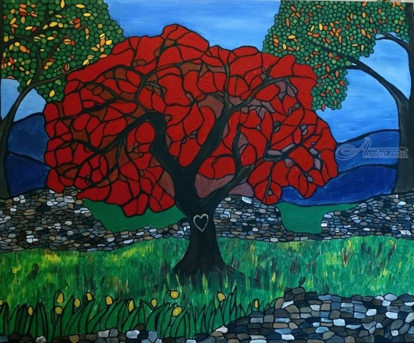 Our initials on the red tree, Paintings, Abstract, Landscape, Acrylic, By Rachel Olynuk