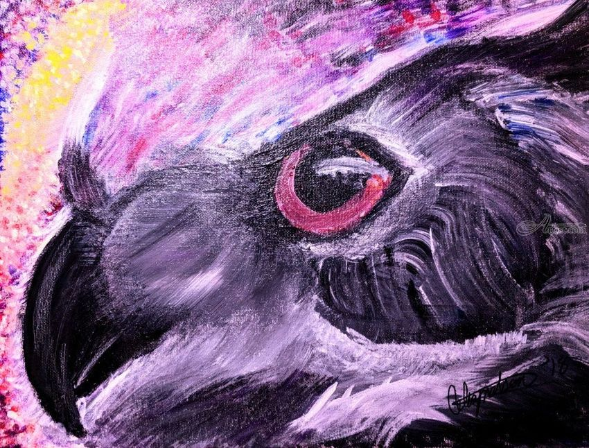 Owl (Untitled), Paintings, Impressionism, Animals, Acrylic,Canvas, By Celia J Nelson