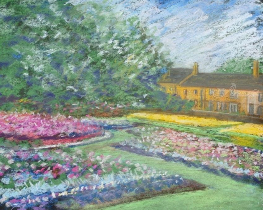 Park Flowers, Paintings,Pastel, Fine Art, Floral,Landscape, Pastel, By Matthew David Evans
