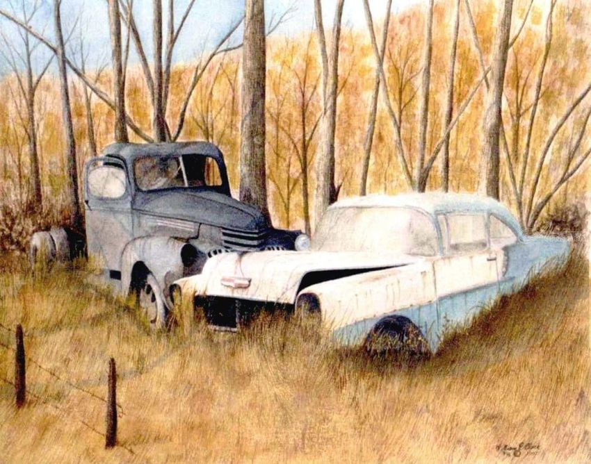Past loves, Paintings, Realism, Landscape, Watercolor, By William Clark