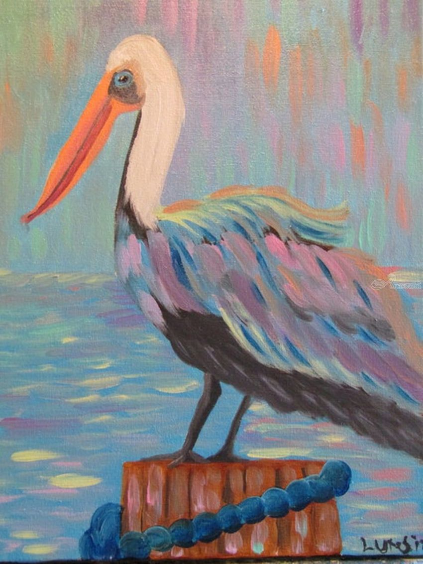 Pete the Pelican, pelican, pelicans, bird, birds, nature, wildlife, ocean, beach, Florida, beach decor, home decor, wall art, pink, lilac, blue, peach, Paintings, Abstract, Animals, Acrylic, By melanie ann lutes