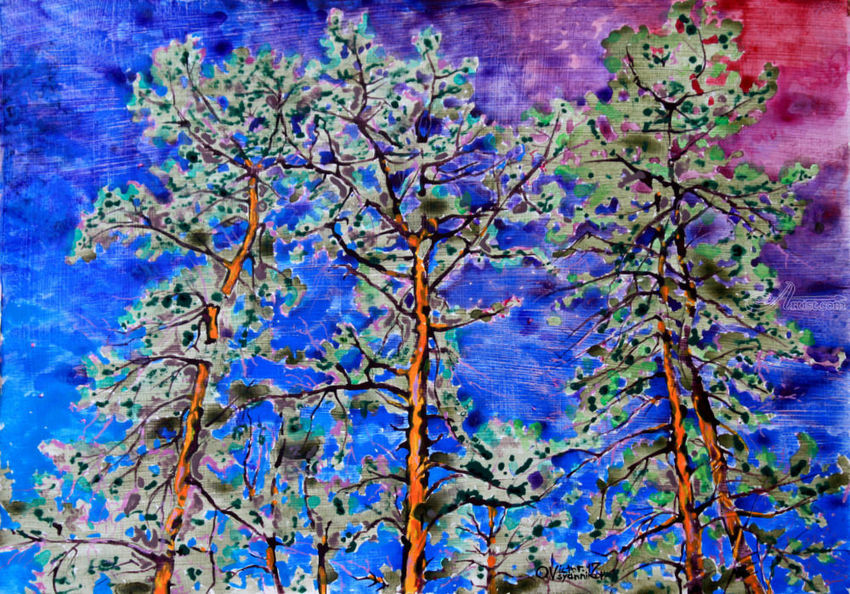 Pines, Paintings, Expressionism, Landscape, Acrylic, By Victor Ovsyannikov