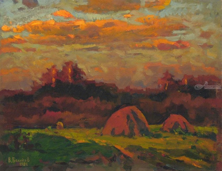Pink haystacks, Paintings, Impressionism, Landscape, Canvas, Oil, Painting, By Vasily Belikov