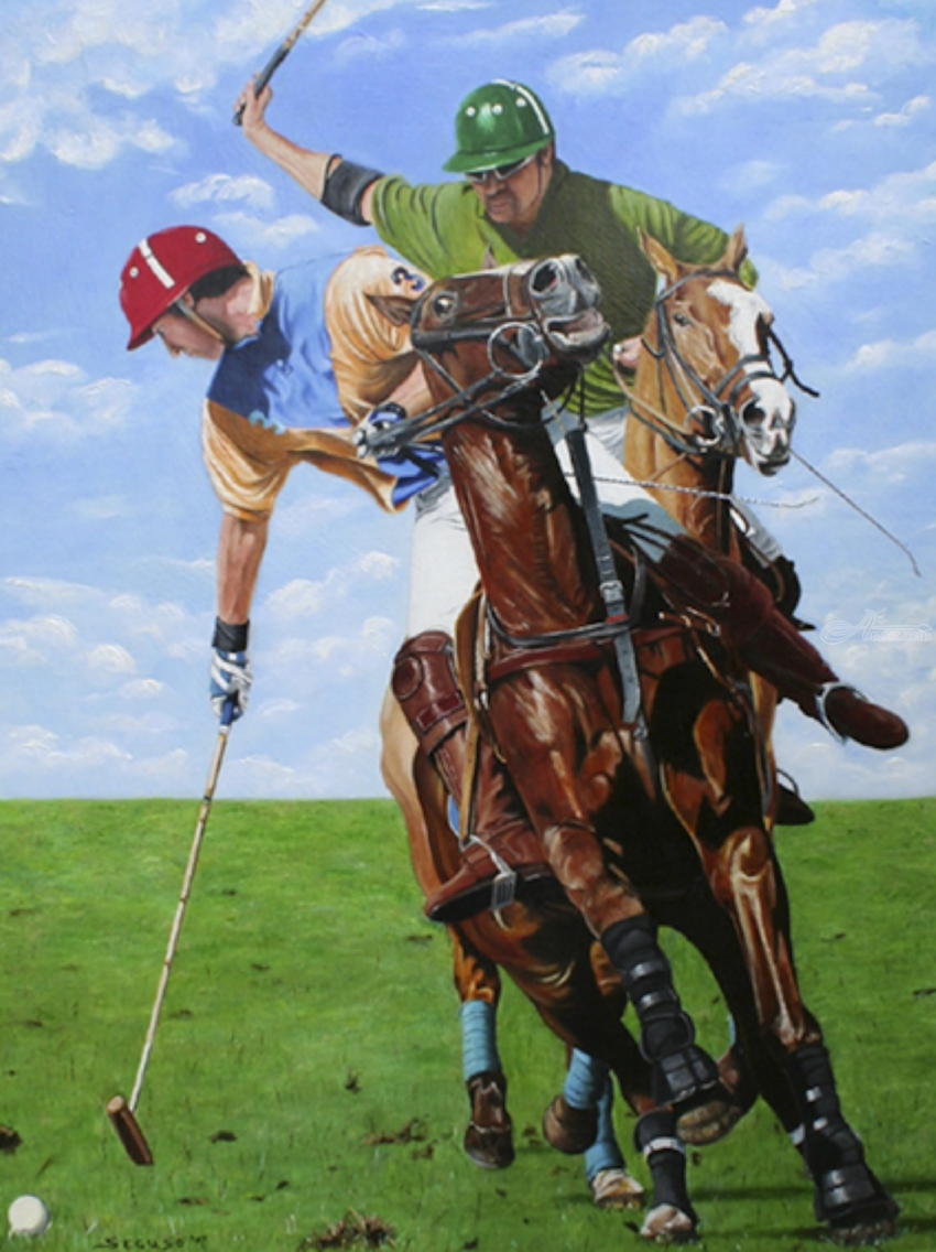 Polo, Paintings, Fine Art, Realism, Animals, Figurative, People, Canvas, By Rick Seguso