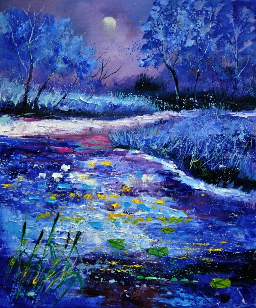 Pond 563111, Paintings, Expressionism, Landscape, Canvas, By Pol Henry Ledent