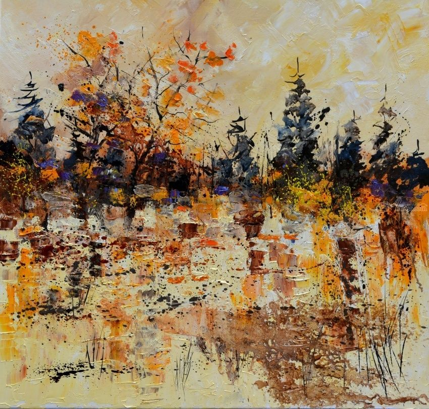 Pond in autumn, Paintings, Impressionism, Decorative, Landscape, Canvas, By Pol Henry Ledent