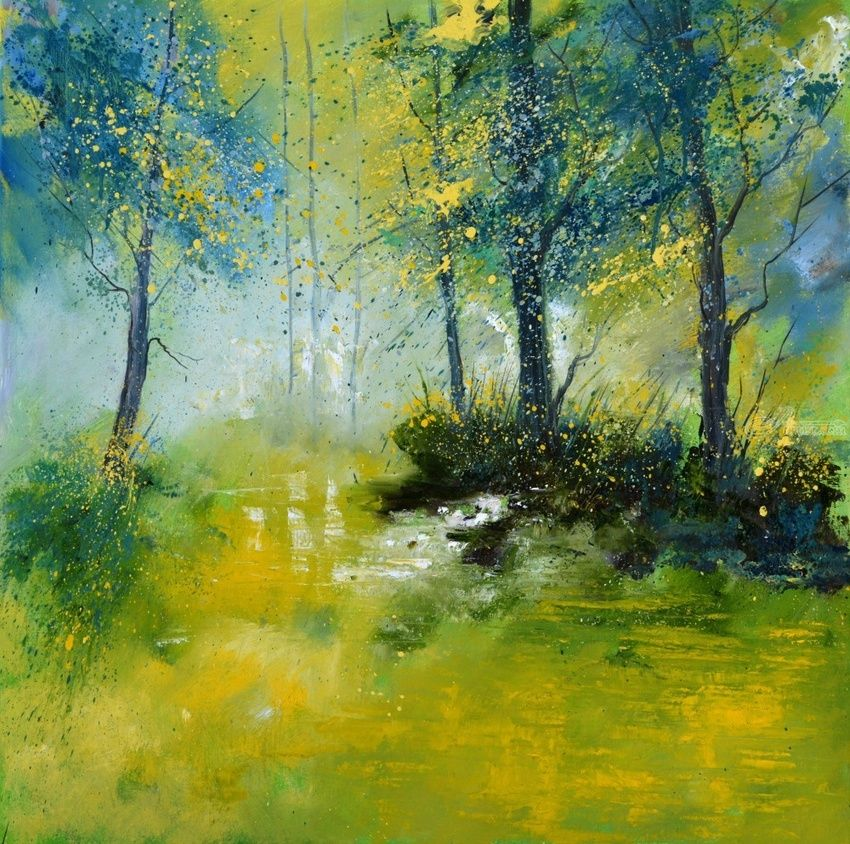 Pond in the wood, Paintings, Impressionism, Landscape, Canvas, By Pol Henry Ledent