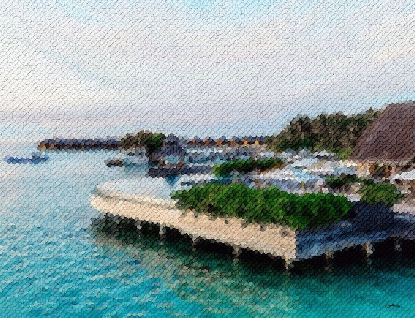 Poolside-view-of-resort-maldives, Collage, Abstract, Window on the World, Mixed, By Angelo