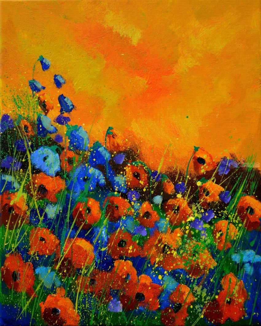 poppies 45852, Paintings, Expressionism, Botanical, Canvas, By Pol Henry Ledent