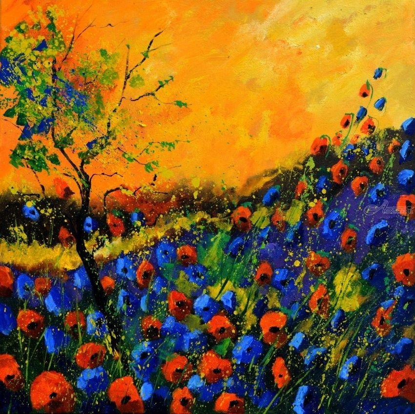 Poppies 81, Paintings, Expressionism, Botanical, Canvas, By Pol Henry Ledent