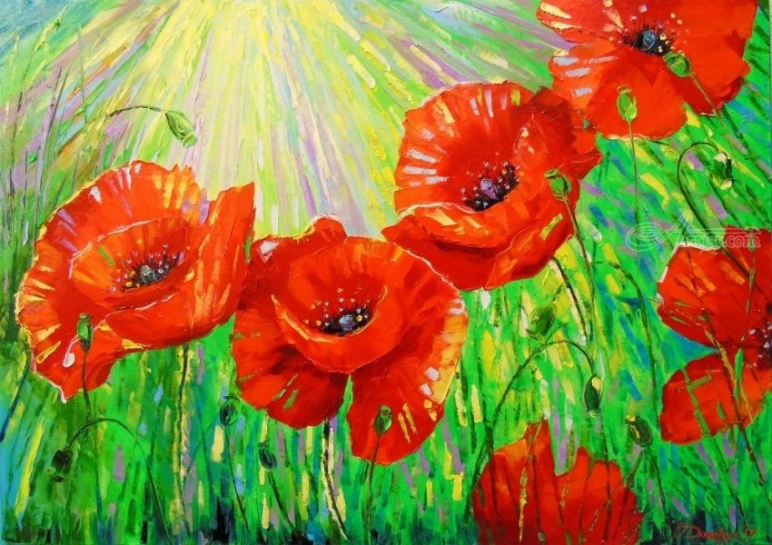 Poppies in sunlight, Paintings, Impressionism, Botanical,Floral,Landscape,Nature, Canvas,Oil,Painting, By Olha   Vyacheslavovna Darchuk