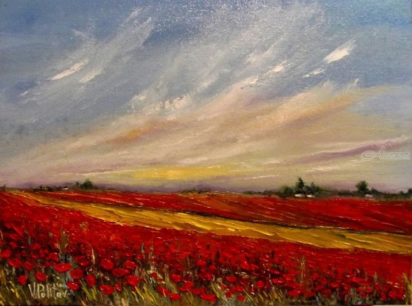 POPPY FIELDS, Paintings, Impressionism, Landscape, Canvas,Oil, By Valeriy Politov
