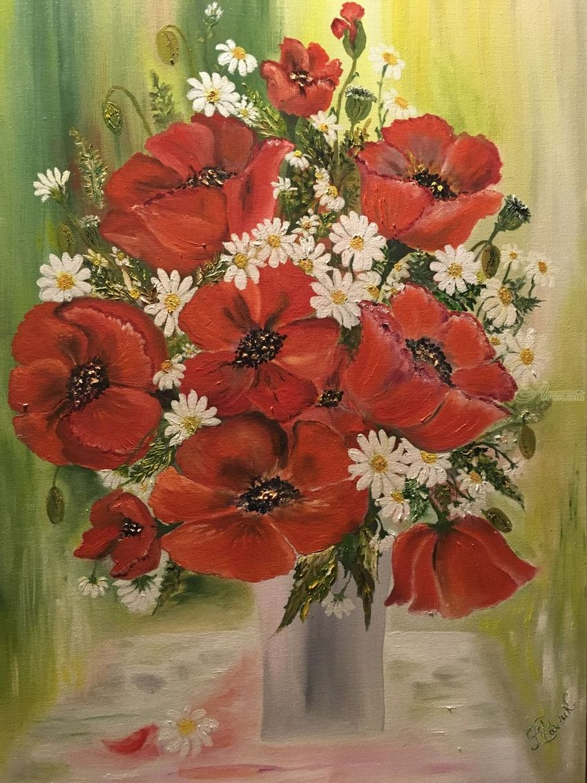 Poppyseed flowers with wild daisies, Paintings, Fine Art, Botanical, Canvas, By Lubov Pavluk
