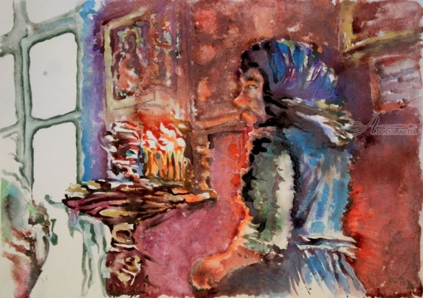 Prayer in church, Paintings, Expressionism, Religious, Watercolor, By Victor Ovsyannikov