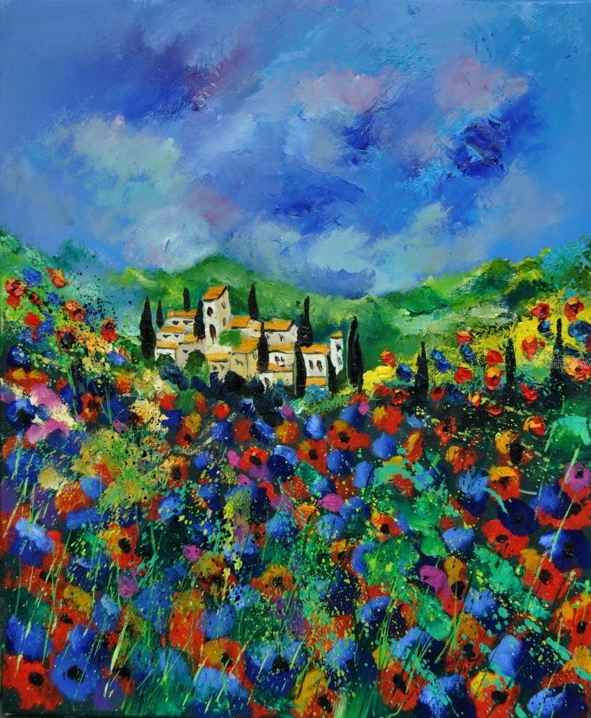 Provence 564150, Paintings, Impressionism, Landscape, Canvas, By Pol Henry Ledent