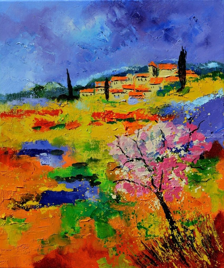 Provence 676170, Paintings, Expressionism, Landscape, Canvas, By Pol Henry Ledent