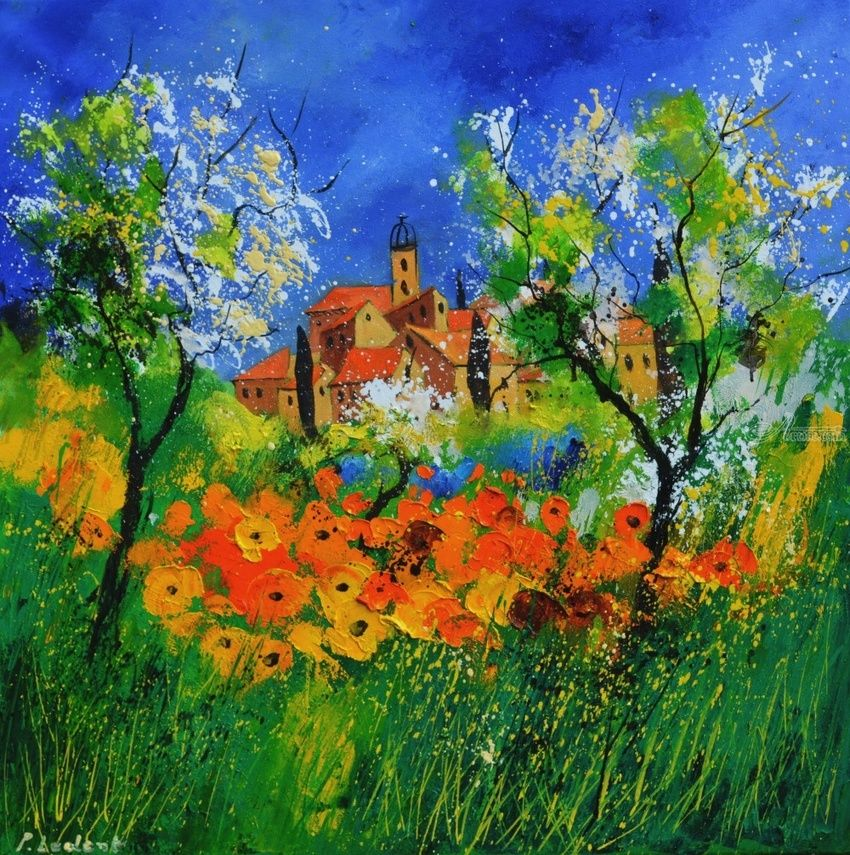 Provence 776180, Paintings, Expressionism, Landscape, Canvas, By Pol Henry Ledent